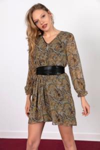 Saygı V Yaka Şal Desen Astarlı Şifon Elbise Hardal