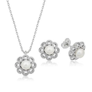 Gümüş İncili Çiçek Bayan Set