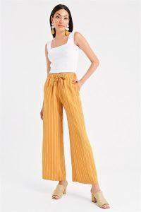 Beli Lastikli Çizgili Bol Paça Pantolon Sarı