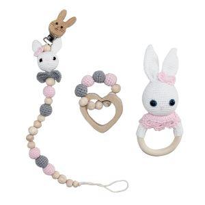 Amigurumi Pembe Tavşan Çıngırak-Diş Kaşıyıcı-Emzik Askısı 3