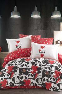 Hobby Poplin Çift Kişilik Nevresim Takımı Amore Kırmızı