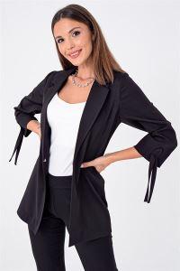 Kolu Bağcıklı Double Kumaş Likralı Ceket Siyah