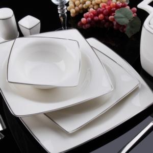 Sevenly 85 Parça Bone Kare Porselen Platin Yemek Takımı BYZ01
