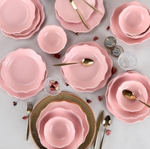 Keramika 24 Parça 6 Kişilik Romeo Mat Açık Pembe Yemek Takımı