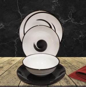 Asaf  24 Parça Porselen El Yapımı Yemek Takımı Siyah Dekorlu