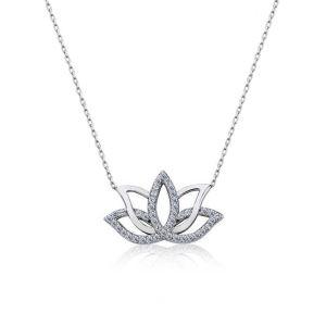 Gümüş Lotus Çiçeği Kolye