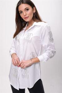 Boncuk İşlemeli Koton Gömlek Beyaz