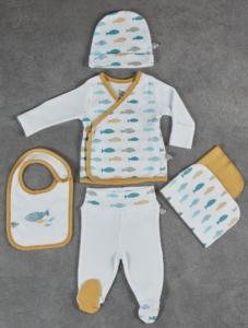 Ecocotton Organik Pamuk 5 Parça Bebek Zıbın Seti - Dodo Beyaz