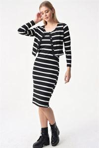 Çizgili Likra Elbise Hırka Takım Siyah