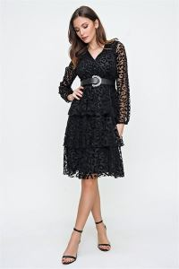 Üç Katlı Siyah Leopar Desenli Kolu Lastikli Elbise Siyah