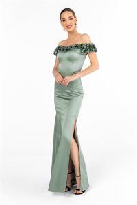 Yaka Üç Boyut Çiçekli Saten Uzun Abiye Elbise Mint