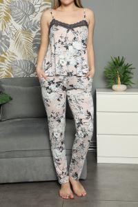 Nicoletta Ekru Kadın Pijama Takımı İp Askılı Cepli Viskon