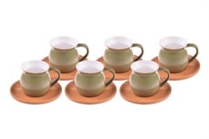 Bambum Selam - 6 Kişilik Kahve Fincan Takımı Yeşil B1311