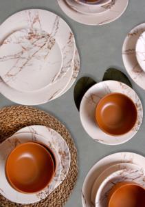 Keramika Kahverengi Mermer Yemek Takımı 24 Parça 6 Kişilik 17802