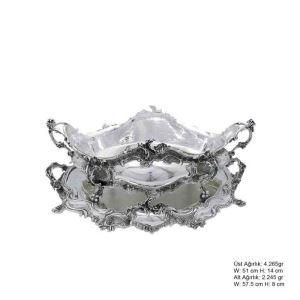 925 Ayar Gümüş Çiçekli Jardinyer
