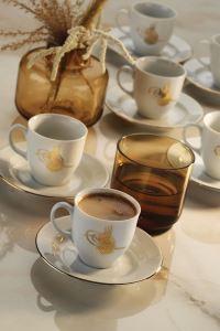 Kütahya Porselen Tuğralı Kahve Takımı Altın