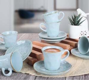 Keramika 12 Parça 6 Kişilik Organik Kahve Takımı Mavi - 18921