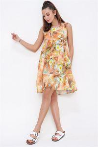 Çiçek Desenli Fırfırlı Kolsuz Empirme Viskon Elbise Oranj