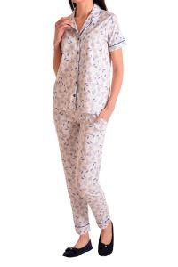 Nicoletta Kadın Pijama Takımı Kısa Kollu Düğmeli Cepli Pamuk