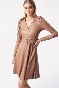 Kruvaze Kloş Kemerli  Deri Elbise Bej