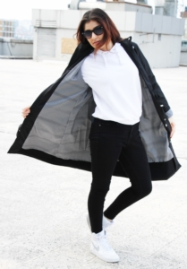 Mişa Butik Uzun Trenç Kadın Yağmurluk Siyah