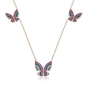 Gümüş Uçan Kelebekler Bayan Kolye