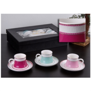 Gönül Porselen 6 Kişilik Kahve Fincan Takımı G1859 Pembe
