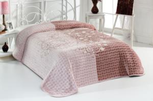 Evlen Home Roses Çift Kişilik Kahve Battaniye 220X240 cm (B08)