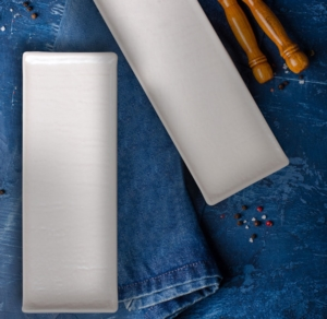 Keramika 2 Adet 33 Cm Doğaltaş Kayık Tabak Mat Transparan Beyaz