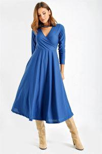 Kruvaze Kemerli Düz Crep Elbise Mavi