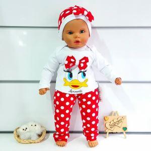 Kırmızı Beyaz puanlı Duck 3 lü  Alttan çıtlı Zıbınlı Kız bebek Takım