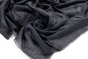 Flamlı Kare Pamuklu Örtü  - Siyah