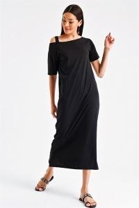 Tek Omuz Askılı Yırtmaçlı Elbise Siyah