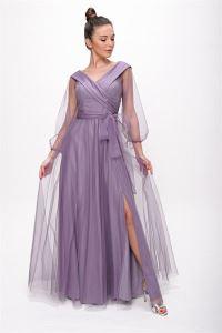 Bağcıklı Balon Kol Tül Uzun Abiye Elbise Lila