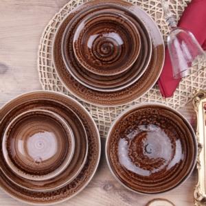 43 Porselen 24 Parça Yuvarlak Porselen Yemek Takımı Açık Kahve