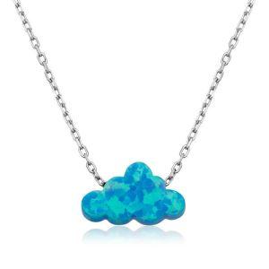 Gümüş Mavi Opal Taş Bulut Bayan Kolye