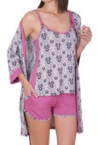 Nicoletta Kadın Şortlu Pijama Takım Sabahlık Üçlü Takım İp Askılı Cepli Viskon