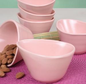 Keramika 6 Parça 12 Cm Miska Mat Açık Pembe Çerezlik/Sosluk