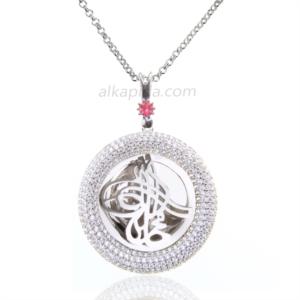 Gümüş İşlemeli Yuvarlak Tuğralı Plaka Kolye PLK06-SİLVER