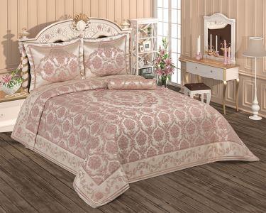 Evlen Home 4 Parça Hilal Pano Pink/Silver Çift Kişilik Yatak Örtüsü YAT-78340