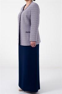 Uzun Elbise Krep İkili Takım Lacivert