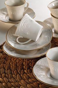 Kütahya Porselen Fulya Krem Altın File Kahve Fincan Takımı
