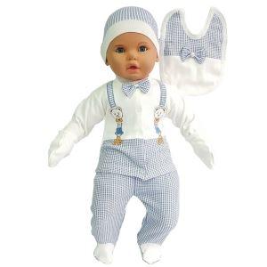 Ayıcık Askılı Papyonlu Mavi 5 li Erkek Bebek Hastane Çıkış Seti