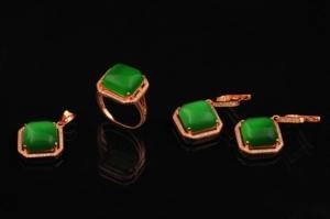 Gümüş Zümrüt ve Zirkon Taşlı Yeşil Set LS760891