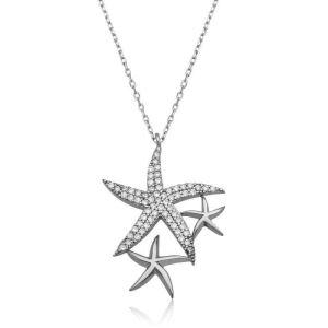 Gümüş Beyaz Deniz Yıldızları Bayan Kolye