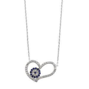 Gümüş Nazarlı Kalp Bayan Kolye
