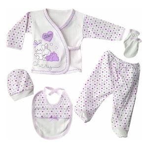 Chery Kalpli Mor 5 Parça Kız Bebek Hastane Çıkış Seti