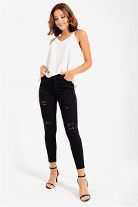 Yüksek Bel Pullu Jean Pantolon Siyah