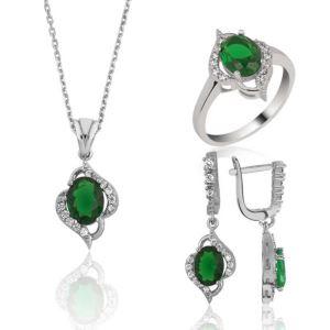 Gümüş Yeşil Taşlı Bayan Set