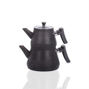 Bayev Altın Tozlu Bakalit Saplı Granit Çaydanlık 200470- Siyah-Altın
